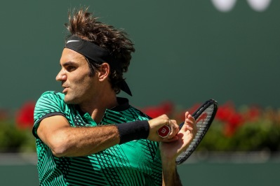Roger Federer in action during the men's semi-final against Jack Sock at the Indian Wells Tennis Garden in Indian Wells, California on Saturday, March 18, 2017. (Photo by Billie Weiss/BNP Paribas Open)