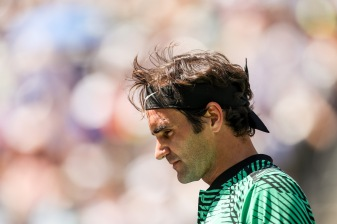 Roger Federer reacts during the men's semi-final against Jack Sock at the Indian Wells Tennis Garden in Indian Wells, California on Saturday, March 18, 2017. (Photo by Billie Weiss/BNP Paribas Open)