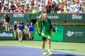 Jack Sock waves as he walks off court during the men's semi-final against Roger Federer at the Indian Wells Tennis Garden in Indian Wells, California on Saturday, March 18, 2017. (Photo by Billie Weiss/BNP Paribas Open)