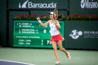 Martina Hingis reacts after winning the women's doubles final with Yung-Jan against Lucie Hradecka and Katerina Siniakova at the Indian Wells Tennis Garden in Indian Wells, California on Saturday, March 18, 2017. (Photo by Billie Weiss/BNP Paribas Open)