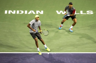 Raven Klaasen and Rajeev Ram in action during the men's doubles final against Lukasz Kubot and Marcelo Melo at the Indian Wells Tennis Garden in Indian Wells, California on Saturday, March 18, 2017. (Photo by Billie Weiss/BNP Paribas Open)