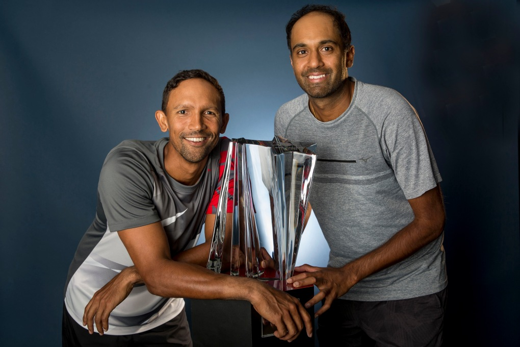 Raven Klaasen and Rajeev Ram pose for a portrait with the trophy after winning the men's doubles final against Lukasz Kubot and Marcelo Melo at the Indian Wells Tennis Garden in Indian Wells, California on Saturday, March 18, 2017. (Photo by Billie Weiss/BNP Paribas Open)