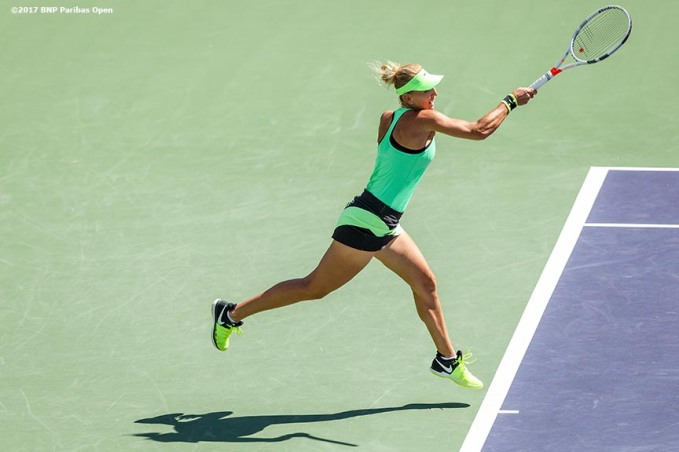 Elena Vesnina in action during the women's final against Svetlana Kuznetsova at the Indian Wells Tennis Garden in Indian Wells, California on Sunday, March 19, 2017. (Photo by Billie Weiss/BNP Paribas Open)