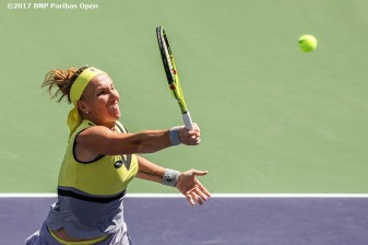 Svetlana Kuznetsova in action during the women's final against Elena Vesnina at the Indian Wells Tennis Garden in Indian Wells, California on Sunday, March 19, 2017. (Photo by Billie Weiss/BNP Paribas Open)