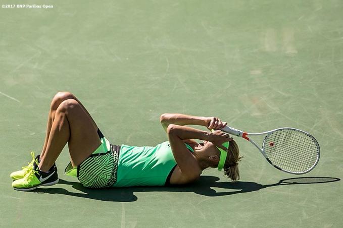 Elena Vesnina reacts after winning the women's final against Svetlana Kuznetsova at the Indian Wells Tennis Garden in Indian Wells, California on Sunday, March 19, 2017. (Photo by Billie Weiss/BNP Paribas Open)
