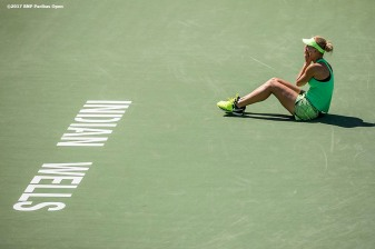 Elena Vesnina reacts after winning the women's final against Svetlana Kuznetsova at the Indian Wells Tennis Garden in Indian Wells, California on Sunday, March 19, 2017. (Photo by Billie Weiss/BNP Paribas Open)