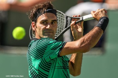 Roger Federer in action during the men's final against Stan Wawrinka at the Indian Wells Tennis Garden in Indian Wells, California on Sunday, March 19, 2017. (Photo by Billie Weiss/BNP Paribas Open)