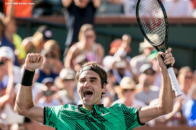 Roger Federer reacts after winning the men's final against Stan Wawrinka at the Indian Wells Tennis Garden in Indian Wells, California on Sunday, March 19, 2017. (Photo by Billie Weiss/BNP Paribas Open)