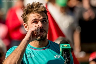 Stan Wawrinka speaks during the trophy presentation after the men's singles final against Roger Federer at the Indian Wells Tennis Garden in Indian Wells, California on Sunday, March 19, 2017. (Photo by Billie Weiss/BNP Paribas Open)