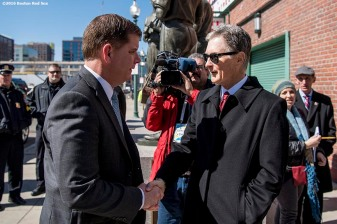 March 30, 2017, Boston, MA: Boston Red Sox Principal Owner John Henry greets Boston Mayor Marty Walsh during the Mayor's Walk Through at Fenway Park in Boston, Massachusetts Thursday, March 30, 2017. (Photo by Billie Weiss/Boston Red Sox)