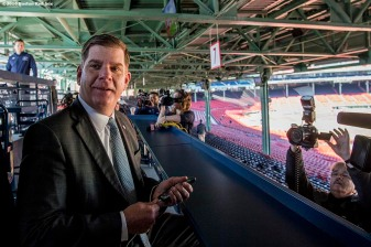 "March 30, 2017, Boston, MA: Boston Mayor Marty Walsh takes in the view from the newly constructed Right Field Grandstand bar, ""Tully Tavern,"" during the Mayor's Walk Through at Fenway Park in Boston, Massachusetts Thursday, March 30, 2017. (Photo by Billie Weiss/Boston Red Sox)"
