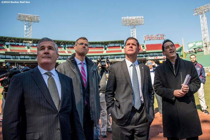 March 30, 2017, Boston, MA: Bill Scannell, President, Global Enterprise Sales & Customer Operations Dell EMC, Boston Red Sox President Sam Kennedy, Boston Mayor Marty Walsh, and Boston Red Sox Executive Vice President / Business Affairs Jonathan Gilula look at the newly constructed right field video board during the Mayor's Walk Through at Fenway Park in Boston, Massachusetts Thursday, March 30, 2017. (Photo by Billie Weiss/Boston Red Sox)
