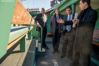 March 30, 2017, Boston, MA: Bill Scannell, President, Global Enterprise Sales & Customer Operations Dell EMC, Boston Red Sox President Sam Kennedy, Boston Mayor Marty Walsh, and Boston Red Sox Executive Vice President / Business Affairs Jonathan Gilula tour the newly constructed player dugout during the Mayor's Walk Through at Fenway Park in Boston, Massachusetts Thursday, March 30, 2017. (Photo by Billie Weiss/Boston Red Sox)