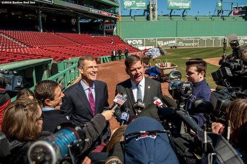 March 30, 2017, Boston, MA: Boston Red Sox President Sam Kennedy and Boston Mayor Marty Walsh speak with the media during the Mayor's Walk Through at Fenway Park in Boston, Massachusetts Thursday, March 30, 2017. (Photo by Billie Weiss/Boston Red Sox)