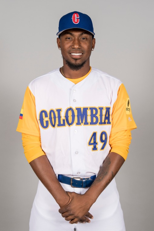 FORT MYERS, FL - MARCH 7: Julio Teheran #49 of Team Colombia poses for a headshot for Pool C of the 2017 World Baseball Classic on Tuesday, March 7, 2017 at CenturyLink Sports Complex in Fort Myers, Florida. (Photo by Billie Weiss/WBCI/MLB Photos via Getty Images) *** Local Caption *** Julio Teheran