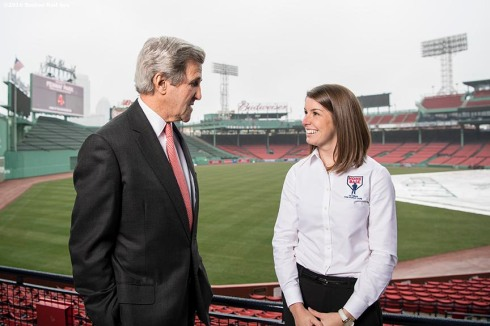 March 31, 2017, Boston, MA: Former Secretary of State John Kerry greets Laura Lakin, Associate Director of Veteran Outreach at Home Base, during a Run To Home Base PSA commercial shoot at Fenway Park in Boston, Massachusetts Thursday, March 31, 2017. (Photo by Billie Weiss/Boston Red Sox)
