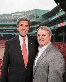 March 31, 2017, Boston, MA: Former Secretary of State John Kerry and Thomas J. Lyons, Managing Director of Governmental Affairs and Communications for Mass Housing, pose for a photograph during a Run To Home Base PSA commercial shoot at Fenway Park in Boston, Massachusetts Thursday, March 31, 2017. (Photo by Billie Weiss/Boston Red Sox)