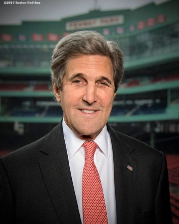 March 31, 2017, Boston, MA: Former Secretary of State John Kerry poses for a portrait during a Run To Home Base PSA commercial shoot at Fenway Park in Boston, Massachusetts Thursday, March 31, 2017. (Photo by Billie Weiss/Boston Red Sox)
