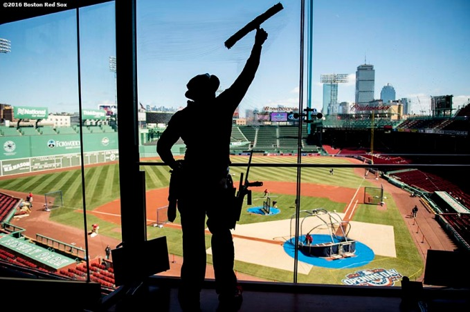 April 2, 2017, Boston, MA: A window is washed in preparation for Opening Day at Fenway Park in Boston, Massachusetts Sunday, April 2, 2017. (Photo by Billie Weiss/Boston Red Sox)