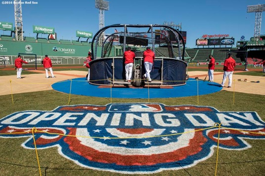 April 2, 2017, Boston, MA: The Opening Day logo is shown during a team workout at Fenway Park in Boston, Massachusetts Sunday, April 2, 2017. (Photo by Billie Weiss/Boston Red Sox)
