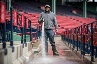 April 2, 2017, Boston, MA: A worker sprays down the seats in preparation for Opening Day at Fenway Park in Boston, Massachusetts Sunday, April 2, 2017. (Photo by Billie Weiss/Boston Red Sox)