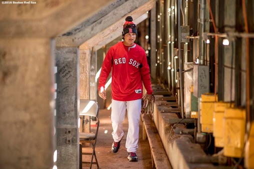 April 2, 2017, Boston, MA: Boston Red Sox left fielder Andrew Benintendi enters the Green Monster for the first time during a team workout at Fenway Park in Boston, Massachusetts Sunday, April 2, 2017. (Photo by Billie Weiss/Boston Red Sox)