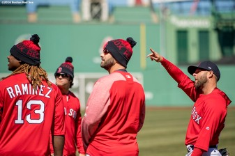 April 2, 2017, Boston, MA: Bposton Red Sox second baseman gestures with teammates during a team workout at Fenway Park in Boston, Massachusetts Sunday, April 2, 2017. (Photo by Billie Weiss/Boston Red Sox)