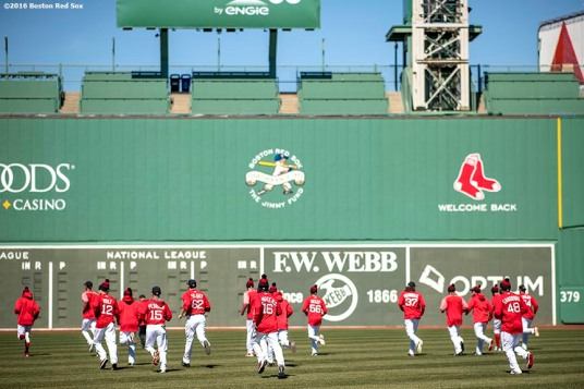 April 2, 2017, Boston, MA: Members of the Boston Red Sox warm up during a team workout at Fenway Park in Boston, Massachusetts Sunday, April 2, 2017. (Photo by Billie Weiss/Boston Red Sox)