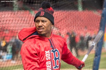 BOSTON, MA - APRIL 3: Mookie Betts #50 of the Boston Red Sox takes batting practice before the home opener against the Pittsburgh Pirates on April 3, 2017 at Fenway Park in Boston, Massachusetts. (Photo by Billie Weiss/Boston Red Sox/Getty Images) *** Local Caption *** Mookie Betts