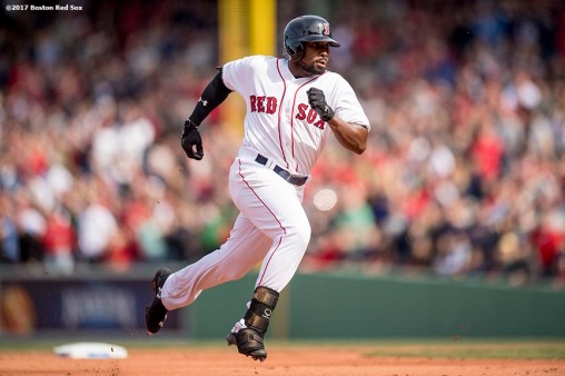 BOSTON, MA - APRIL 3: Jackie Bradley Jr. #19 of the Boston Red Sox rounds second base after hitting a triple during the fifth inning of the home opener against the Pittsburgh Pirates on April 3, 2017 at Fenway Park in Boston, Massachusetts. (Photo by Billie Weiss/Boston Red Sox/Getty Images) *** Local Caption ***Jackie Bradley Jr.
