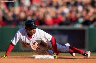 BOSTON, MA - APRIL 3: Xander Bogaerts #2 of the Boston Red Sox slides as he steals second base during the eighth inning of the home opener against the Pittsburgh Pirates April 3, 2017 at Fenway Park in Boston, Massachusetts. (Photo by Billie Weiss/Boston Red Sox/Getty Images) *** Local Caption *** Xander Bogaerts