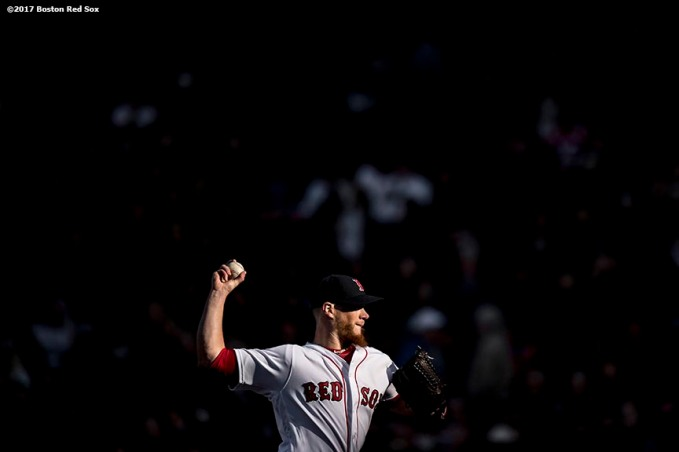 BOSTON, MA - APRIL 3: Craig Kimbrel #46 of the Boston Red Sox delivers during the ninth inning of the home opener against the Pittsburgh Pirates April 3, 2017 at Fenway Park in Boston, Massachusetts. (Photo by Billie Weiss/Boston Red Sox/Getty Images) *** Local Caption *** Craig Kimbrel