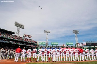BOSTON, MA - APRIL 3: A flyover by the 104th Fighter Wing, Barnes Air National Guard Base is held as members of the Boston Red Sox line up before the home opener against the Pittsburgh Pirates April 3, 2017 at Fenway Park in Boston, Massachusetts. (Photo by Billie Weiss/Boston Red Sox/Getty Images) *** Local Caption ***