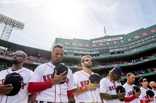 BOSTON, MA - APRIL 3: Jackie Bradley Jr. #19, Xander Bogaerts #2, Mitch Moreland #18, Hanley Ramirez #13, Mookie Betts #50, and Andrew Benintendi #16 of the Boston Red Sox line up before the home opener against the Pittsburgh Pirates April 3, 2017 at Fenway Park in Boston, Massachusetts. (Photo by Billie Weiss/Boston Red Sox/Getty Images) *** Local Caption *** Jackie Bradley Jr.; Xander Bogaerts; Mitch Moreland; Hanley Ramirez; Mookie Betts; Andrew Benintendi