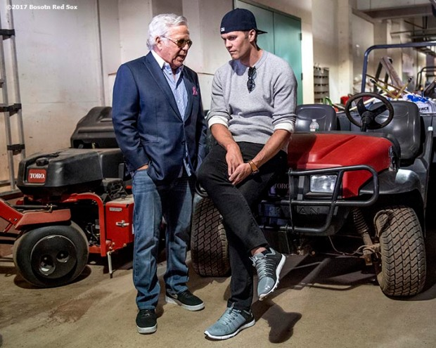 BOSTON, MA - APRIL 3: Tom Brady #12 and owner Robert Kraft of the New England Patriots talk below the stadium before a pre-game ceremony before the Boston Red Sox home opener against the Pittsburgh Pirates on April 3, 2017 at Fenway Park in Boston, Massachusetts. (Photo by Billie Weiss/Boston Red Sox/Getty Images) *** Local Caption *** Tom Brady; Robert Kraft