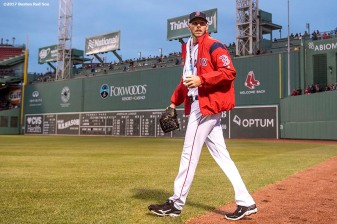 BOSTON, MA - APRIL 5: Chris Sale #41 of the Boston Red Sox exits the bullpen before making his debut as a member of the Boston Red Sox against the Pittsburgh Pirates on April 5, 2017 at Fenway Park in Boston, Massachusetts. (Photo by Billie Weiss/Boston Red Sox/Getty Images) *** Local Caption ***Chris Sale