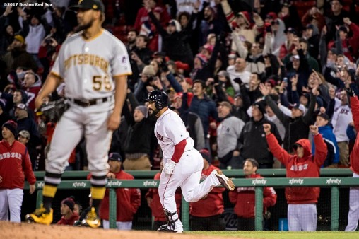 BOSTON, MA - APRIL 5: Sandy Leon #3 of the Boston Red Sox reacts after hitting a walk off three run home run during the twelfth inning of a game against the Pittsburgh Pirates on April 5, 2017 at Fenway Park in Boston, Massachusetts. (Photo by Billie Weiss/Boston Red Sox/Getty Images) *** Local Caption ***Sandy Leon