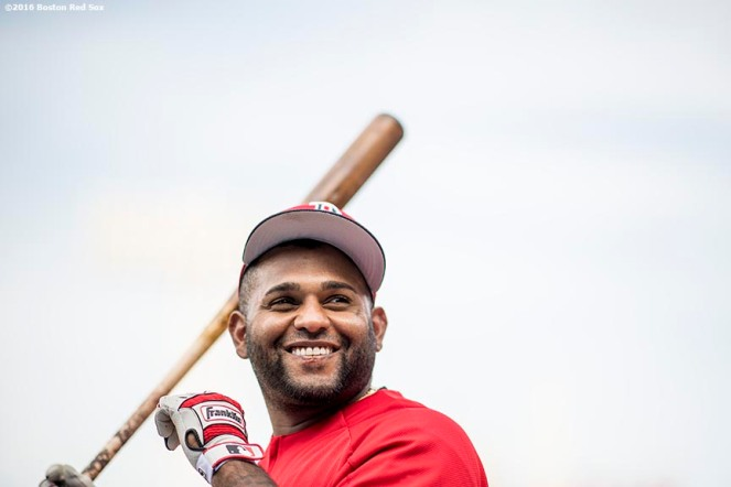 BOSTON, MA - APRIL 11: Pablo Sandoval #48 of the Boston Red Sox reacts before a game against the Baltimore Orioles on April 11, 2017 at Fenway Park in Boston, Massachusetts. (Photo by Billie Weiss/Boston Red Sox/Getty Images) *** Local Caption ***Pablo Sandoval