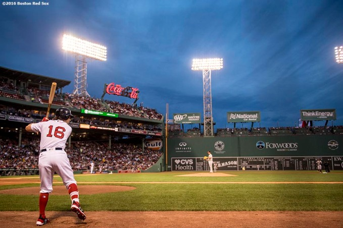 BOSTON, MA - APRIL 11: Andrew Benintendi #16 of the Boston Red Sox warms up on deck during the first inning of a game against the Baltimore Orioles on April 11, 2017 at Fenway Park in Boston, Massachusetts. (Photo by Billie Weiss/Boston Red Sox/Getty Images) *** Local Caption *** Andrew Benintendi