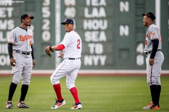 BOSTON, MA - APRIL 12: Xander Bogaerts #2 of the Boston Red Sox talks with Adam Jones #10 and Jonathan Schoop #6 of the Baltimore Orioles before a game on April 12, 2017 at Fenway Park in Boston, Massachusetts. (Photo by Billie Weiss/Boston Red Sox/Getty Images) *** Local Caption *** Mookie Betts; Adam Jones; Jonathan Schoop