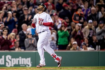 BOSTON, MA - APRIL 12: Pablo Sandoval #48 of the Boston Red Sox reacts after hitting a two run home run during the fourth inning of a game against the Baltimore Orioles April 12, 2017 at Fenway Park in Boston, Massachusetts. (Photo by Billie Weiss/Boston Red Sox/Getty Images) *** Local Caption *** Pablo Sandoval