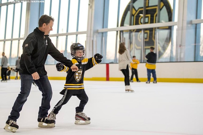April 14, 2017, Brighton, MA: Electric Supply Center (ESC) hosts an event with former Boston Bruins players Terry O'Reilly and Ray Borque at Warrior Ice Arena in Brighton, Massachusetts Friday, April 14, 2017. (Photo by Billie Weiss/Waymark)