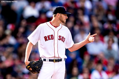 BOSTON, MA - APRIL 15: Chris Sale #41 of the Boston Red Sox reacts during the third inning of a game against the Tampa Bay Rays on April 15, 2017 at Fenway Park in Boston, Massachusetts. (Photo by Billie Weiss/Boston Red Sox/Getty Images) *** Local Caption *** Chris Sale
