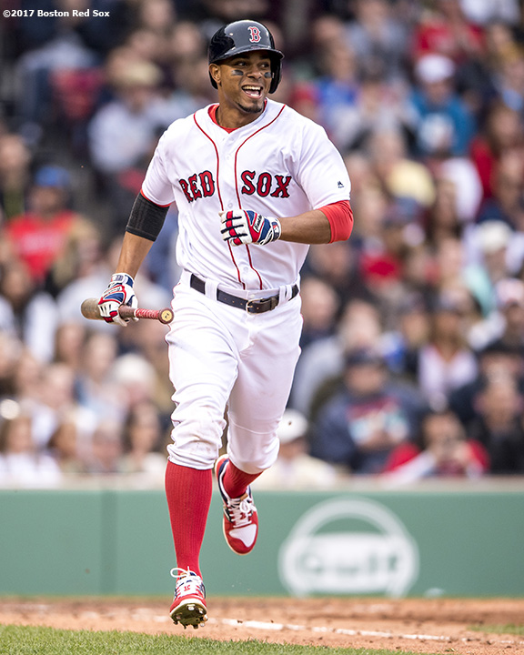 BOSTON, MA - APRIL 15: Xander Bogaerts #2 of the Boston Red Sox reacts as he hits a single during the seventh inning of a game against the Tampa Bay Rays on April 15, 2017 at Fenway Park in Boston, Massachusetts. (Photo by Billie Weiss/Boston Red Sox/Getty Images) *** Local Caption *** Xander Bogaerts