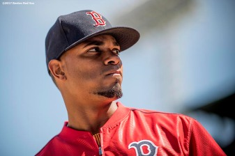 BOSTON, MA - APRIL 15: Xander Bogaerts #2 of the Boston Red Sox looks on before a game against the Tamp Bay Rays on April 15, 2017 at Fenway Park in Boston, Massachusetts. (Photo by Billie Weiss/Boston Red Sox/Getty Images) *** Local Caption *** Xander Bogaerts