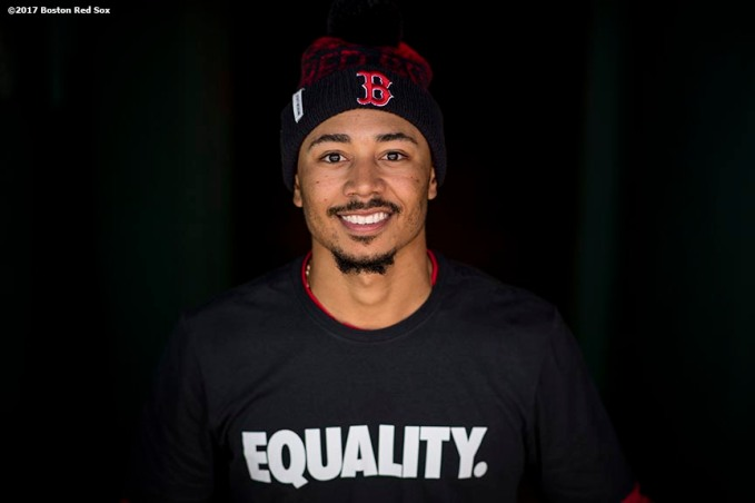 BOSTON, MA - APRIL 15: Mookie Betts #2 of the Boston Red Sox poses wearing a shirt reading 'Equality' in honor of Jackie Robinson Day before a game against the Tamp Bay Rays on April 15, 2017 at Fenway Park in Boston, Massachusetts. (Photo by Billie Weiss/Boston Red Sox/Getty Images) *** Local Caption *** Mookie Betts