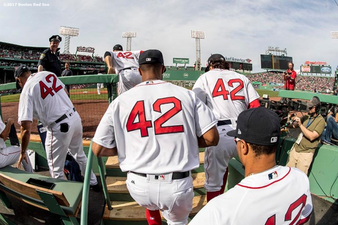 BOSTON, MA - APRIL 15: Members of the Boston Red Sox take the field wearing the number 42 in honor of Jackie Robinson Day before a game against the Tampa Bay Rays on April 15, 2017 at Fenway Park in Boston, Massachusetts. (Photo by Billie Weiss/Boston Red Sox/Getty Images) *** Local Caption ***