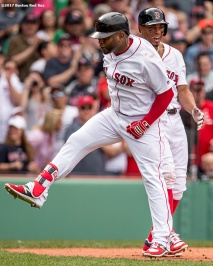 BOSTON, MA - APRIL 16: Pablo Sandoval #48 of the Boston Red Sox reacts with Xander Bogaerts #2 after hitting a game tying two run home run during the fourth inning of a game against the Tampa Bay Rays on April 16, 2017 at Fenway Park in Boston, Massachusetts. (Photo by Billie Weiss/Boston Red Sox/Getty Images) *** Local Caption *** Pablo Sandoval; Xander Bogaerts