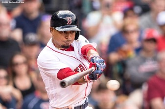 BOSTON, MA - APRIL 16: Mookie Betts #50 of the Boston Red Sox hits a single during the seventh inning of a game against the Tampa Bay Rays on April 16, 2017 at Fenway Park in Boston, Massachusetts. (Photo by Billie Weiss/Boston Red Sox/Getty Images) *** Local Caption *** Mookie Betts