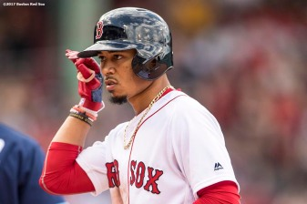 BOSTON, MA - APRIL 16: Mookie Betts #50 of the Boston Red Sox reacts after hitting a single during the seventh inning of a game against the Tampa Bay Rays on April 16, 2017 at Fenway Park in Boston, Massachusetts. (Photo by Billie Weiss/Boston Red Sox/Getty Images) *** Local Caption *** Mookie Betts